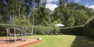 Secluded gardens at the Moray holiday cottage